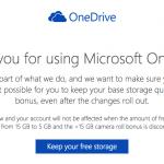 Microsoft 從善如流,登記就把 15GB 容量還給你